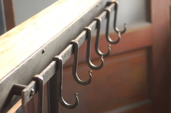 7 Hook Iron Pot Rack, Metal Pot Rack, Coat Rack. Hand Forged by a Blacksmith Also Works as a Coat Rack
