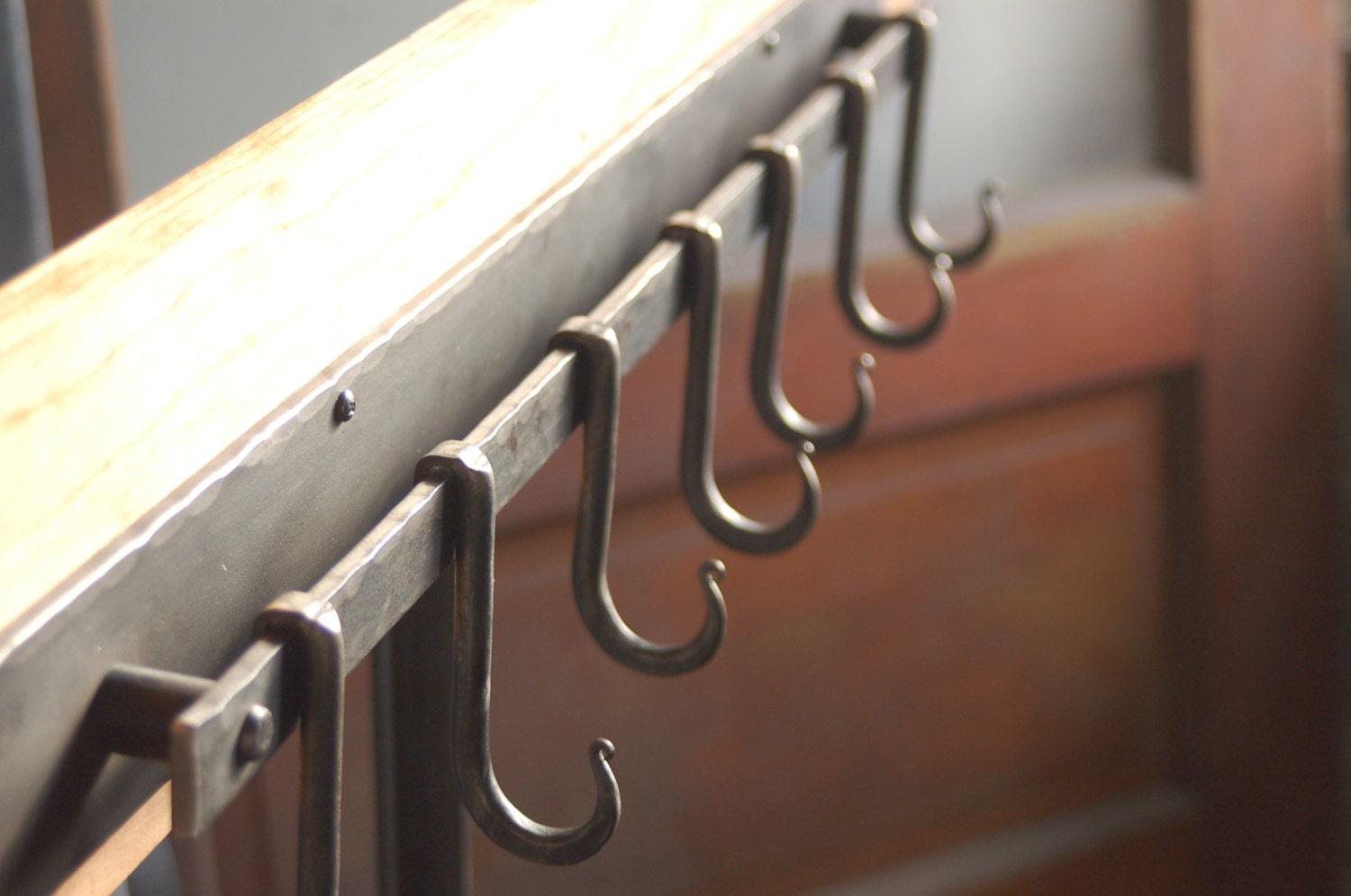 7 Hook Iron Pot Rack Metal Pot Rack Coat Rack. Hand Forged