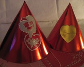 Vintage Shiny Red Paper Valentine Party Hats