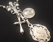 REDUCED Sterling silver French Faith charm necklace with vintage charms OOAK