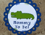 Alligator Theme Button Pin for Baby Shower or Birthday Party (Quantity 1)