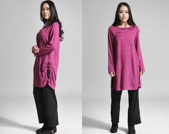 Chinese collar Drawstring KNIT Long Blouse With Handmade Buttons/ 11 Colors/ Any Size/ RAMIES