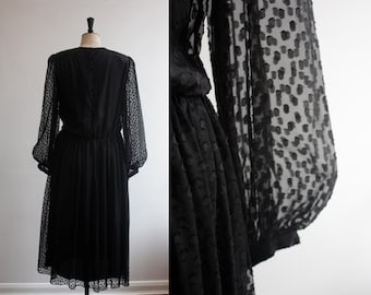 SALE Vintage 1980s Black Silk Hanae Mori Designer Dress Size M