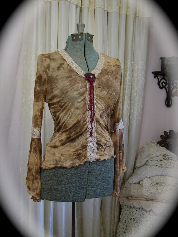 Bohemian Gypsy Top, boho blouse, upcycled clothing altered couture, earth tones, Medium