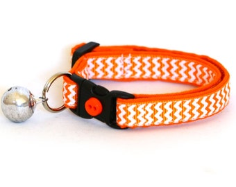 Chevron Cat Collar - Orange - Small Cat / Kitten Size or Large Size