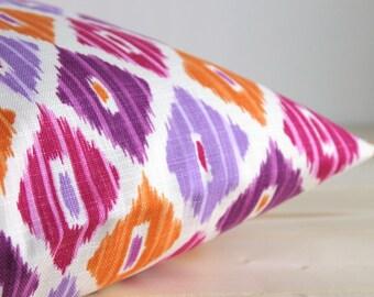 Orange and Pink Ikat Pillow Cover - 16 x 16 Ikat Cushion Cover - Ikat Diamonds Tangerine