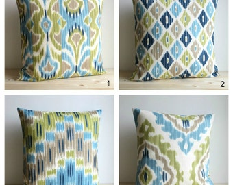 Blue and Green Ikat Pillow Cover, Ikat Pillows, Ikat Cushion Cover, Pillow Sham, Throw Pillow Covers - Ikat Lush Collection