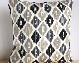 Grey and Beige Ikat Cushion Cover - 16 Inch Ikat Pillow Cover Pillow Sham - Ikat Diamond Neutral