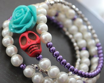 Rockabilly Sugar Skull Bracelet Day of the Dead Bracelet