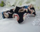 Fancy Dog Collar - Blue Baseballs- Any Size - Item 409