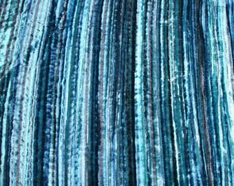 Aqua Swirls - Velvet Fabric with PinStripes Technique