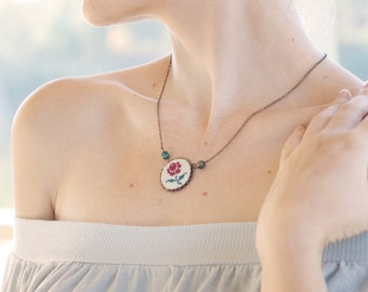 Romantic necklace with hand embroidered rose n013