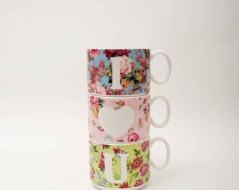 I love you, three floral vintage inspired bone china stacking cups from Wales