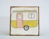 trailer wall art- retro nursery- travel camper- art block- kids room decor- redtilestudio