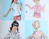 Vintage 60s Girls Set of Blouses How to Sew Series Sewing Pattern Simplicity 6761 Size 10 Chest 28 28