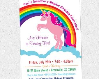 Printable Unicorn Birthday Party Invitation, Rainbow, Pink, Pony, Girl, Girlie, Girly,  DIY digital file