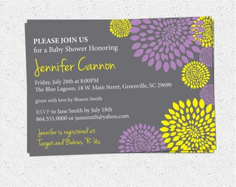 Baby Bridal Shower Invitation Printable Girl Purple and Lemon Yellow and Charcoal Grey Gray Floral Modern, DIY Digital File