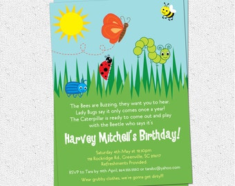 Bug Insects Birthday Party Invitation, Summer, Butterfly, Bee, Beetle, Caterpillar, Lady Bug, Boy or Girl, DIY Digital File