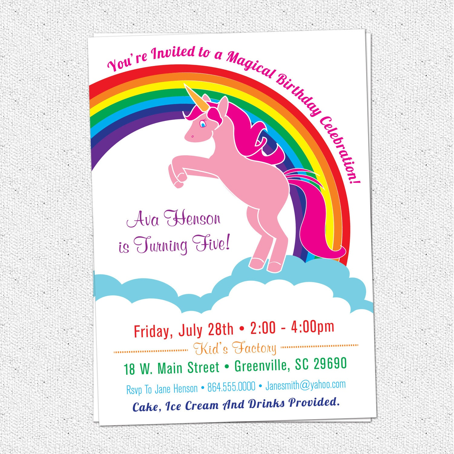 This is an image of Transformative Printable Unicorn Invitations