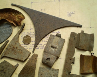 13 Rusty Metal Parts - Industrial Salvage - Found Objects for Assemblage, Sculpture or Altered Art - Salvaged Supplies