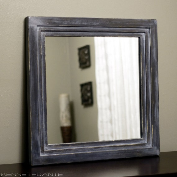 Square Wood Mirror  Distressed Painted Decorative Wall Decor