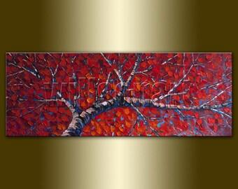 Commission Modern Tree Art Original Birch Landscape Oil Painting Textured Palette Knife Seasons 15X40 by Willson Lau