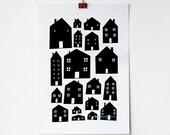 A4 Monotone Scandi Houses Print