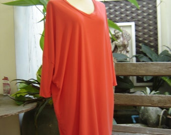 M-XL Soft Spandex V neck Comfy Tunic - Orange
