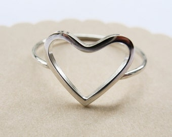 Open Heart Ring- Sterling Silver Heart - Promise Ring