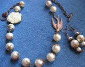 Creamy Pearls, Copper and Ivory Rose Necklace Set - Matching Earrings
