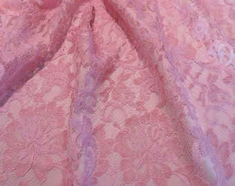 Light Rose Floral Design French Chantilly Lace Fabric--One Yard