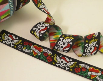 Skulls and Roses Tattoo Design Polyester Jacquard Ribbon--One  Yard