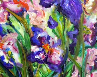 "IRIS III  Landscape Nature Floral  20"" x 30"" Original Oil Painting by Elaine Cory"