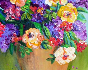 Lilacs Floral Still life Original Painting canvas art 16 x 20 Original Art by Elaine Cory