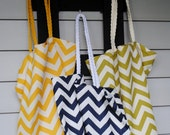 Chevron Tote, Available in multiple colors and with Rope handles