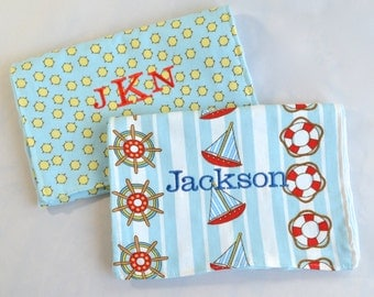 Personalized Burp Cloths Baby Boy, Monogrammed Baby Gift, Personalized Baby Boy Gifts, Minky Baby Gift, Baby Shower Gift Set, Nautical Ships