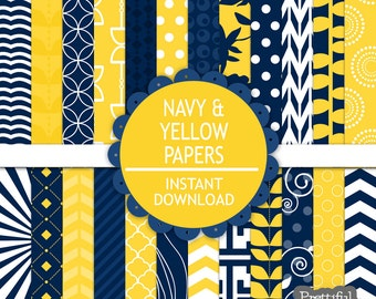 Navy and Yellow Digital Paper Pack  - Personal and Commercial Use