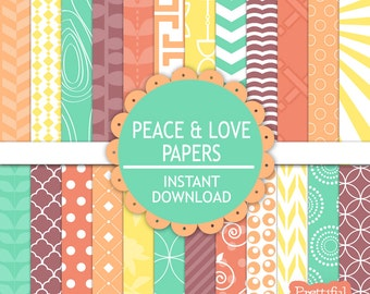 Digital Paper Pack  Turquoise Purple Coral Orange Yellow  Personal and Commercial Use - Peace And Love
