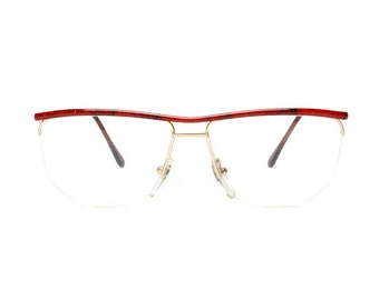 gold red vintage eyeglasses - metal wire frame glasses - semi rimless flat top eye glasses - 80s new old stock