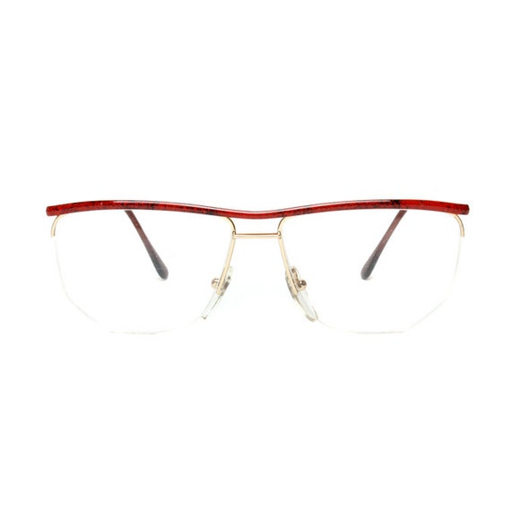 Gold Metal Glasses Frames : Vintage Eyeglasses Gold / Red Metal NEW 1980s by ...