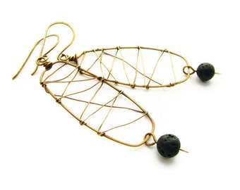 Primitive Caged Black Lava Earrings Abstract Brass Wire Wrapped Minimalist