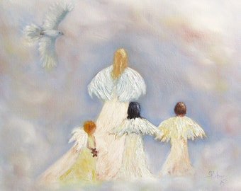 Angels cherubs dove bird heaven Giclee CANVAS PRINT of original oil painting by Sandra Cutrer Fine Art