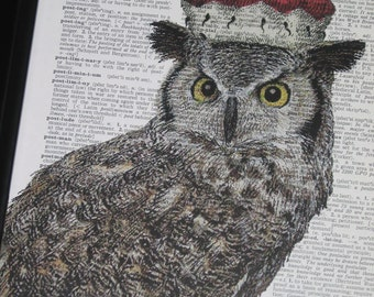 Royal Owl II Dictionary Art Print Wall Art Print Upcycled HHP Original Design and Concept