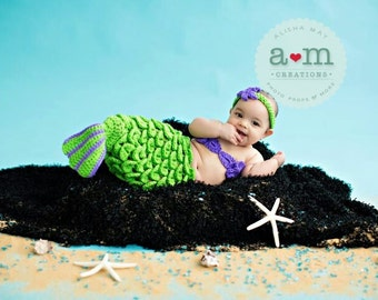 Newborn Crochet Mermaid Tail - Bright Green With Purple Accent - Made To Order - Photography Prop