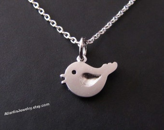 Tiny singing Bird Necklace Pendant Necklace Charm Necklace Jewelry Gift