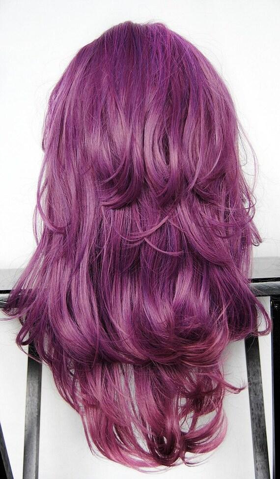 Purple Plum Wig Purple Reverse Ombre Hair Long Wavy
