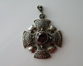 Jerusalem Cross pendant. .935 silver.