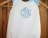 White seersucker dress with blue ric rac and monogram and matching bubble