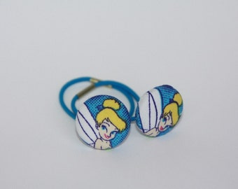 Tinker Bell Fabric Covered Button Elastic Hair Ties (2) for pig and pony tails