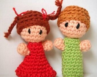 Set of 2 CUSTOM Amigurumi Finger Puppets Made to Order